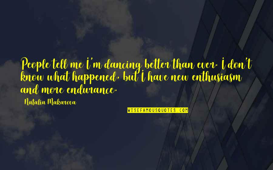 Dancing And Quotes By Natalia Makarova: People tell me I'm dancing better than ever.