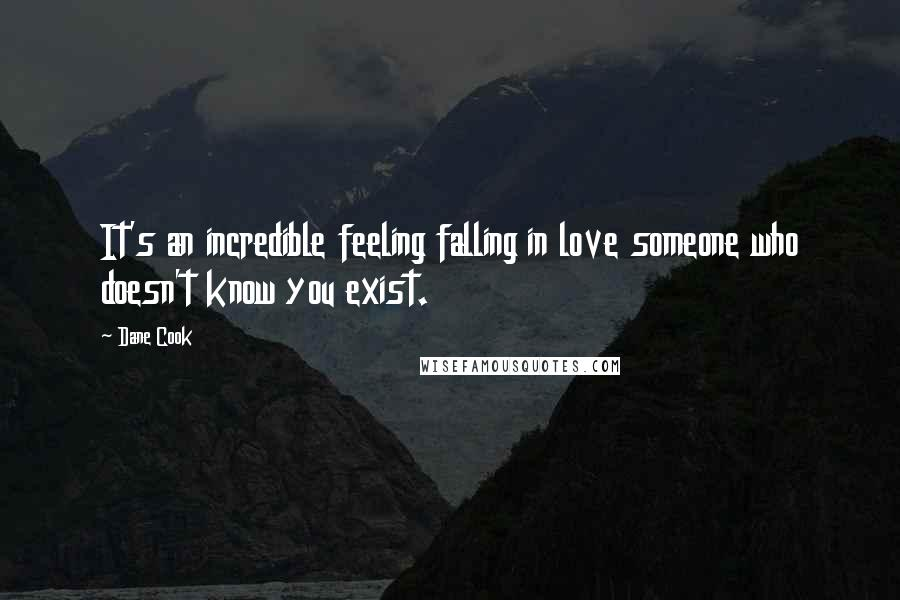 Dane Cook quotes: It's an incredible feeling falling in love someone who doesn't know you exist.