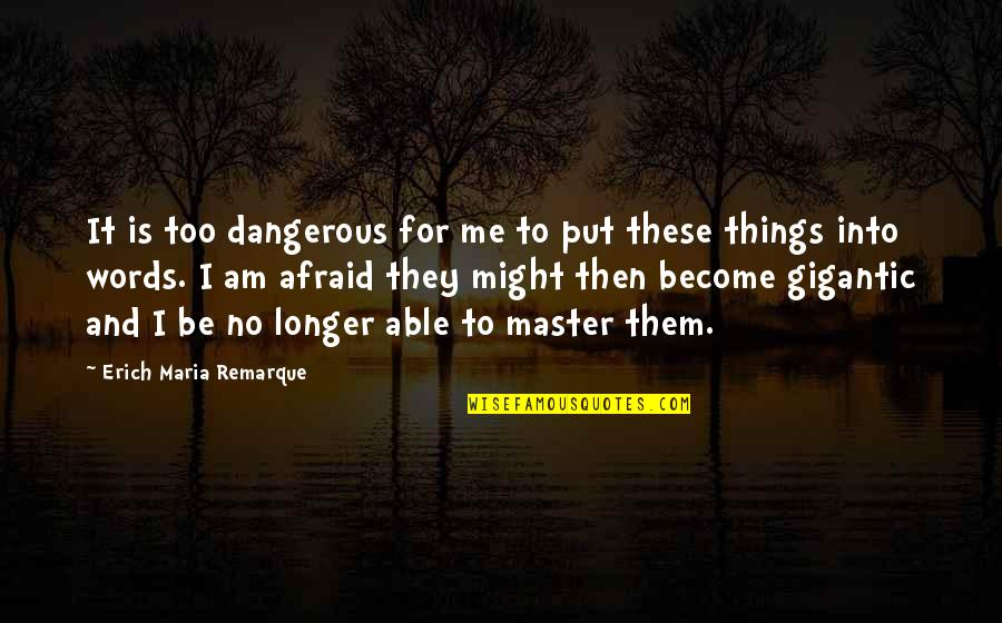 Dangerous Words Quotes By Erich Maria Remarque: It is too dangerous for me to put