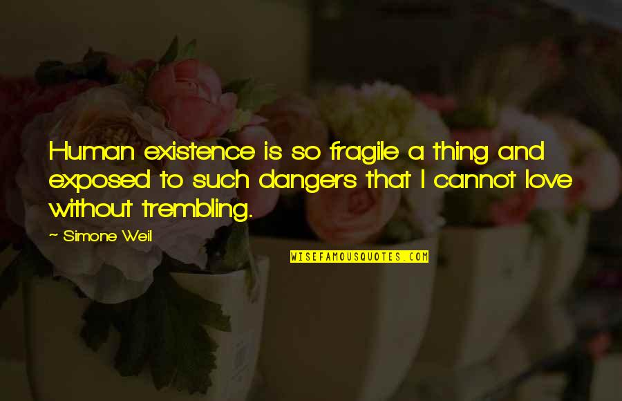 Dangers Of Love Quotes By Simone Weil: Human existence is so fragile a thing and