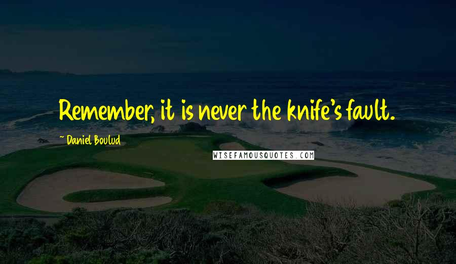 Daniel Boulud quotes: Remember, it is never the knife's fault.