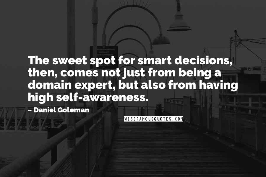 Daniel Goleman quotes: The sweet spot for smart decisions, then, comes not just from being a domain expert, but also from having high self-awareness.