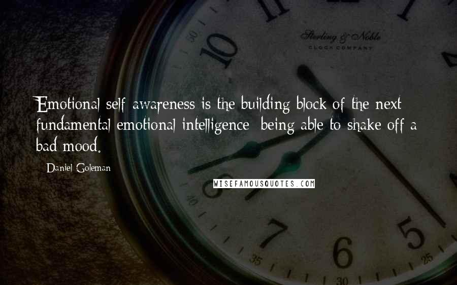 Daniel Goleman quotes: Emotional self-awareness is the building block of the next fundamental emotional intelligence: being able to shake off a bad mood.