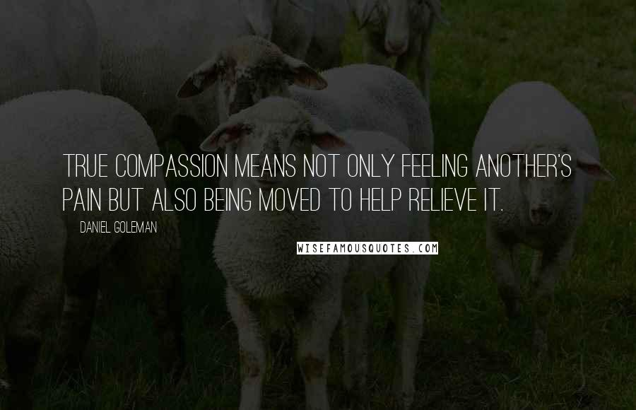 Daniel Goleman quotes: True compassion means not only feeling another's pain but also being moved to help relieve it.