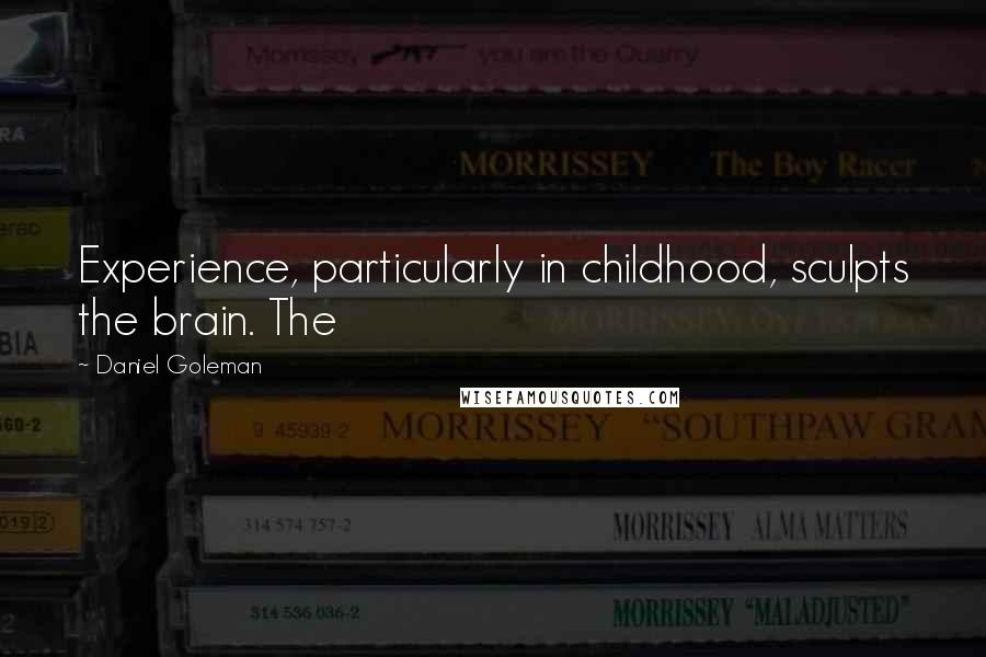 Daniel Goleman quotes: Experience, particularly in childhood, sculpts the brain. The