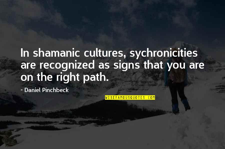 Daniel Pinchbeck Quotes By Daniel Pinchbeck: In shamanic cultures, sychronicities are recognized as signs