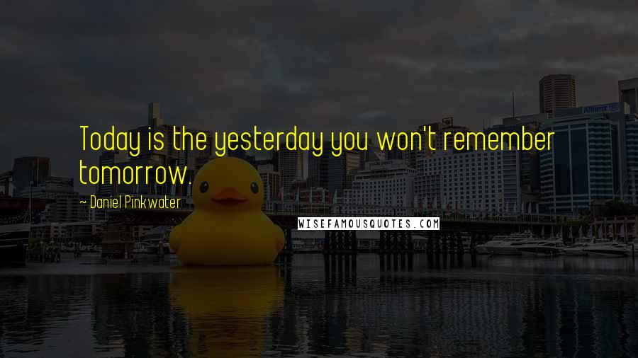Daniel Pinkwater quotes: Today is the yesterday you won't remember tomorrow.