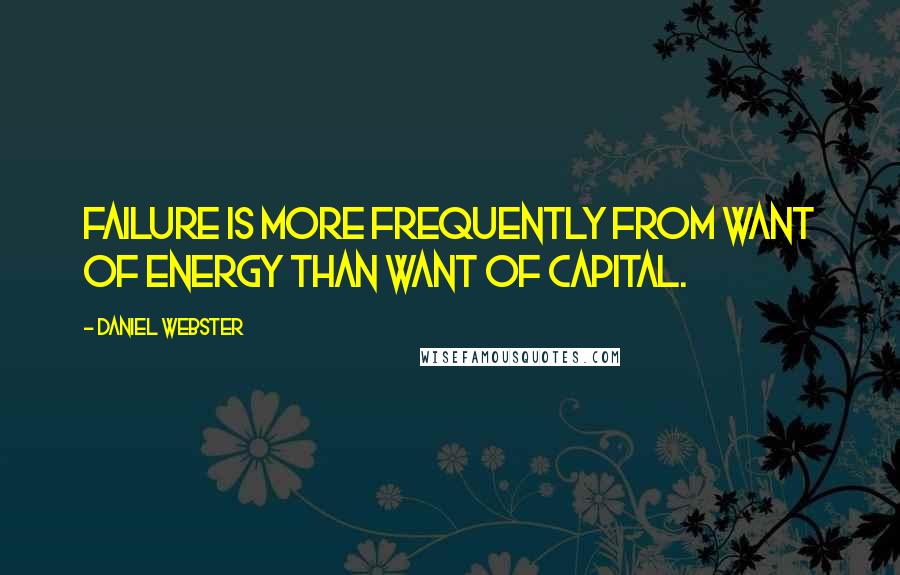 Daniel Webster quotes: Failure is more frequently from want of energy than want of capital.