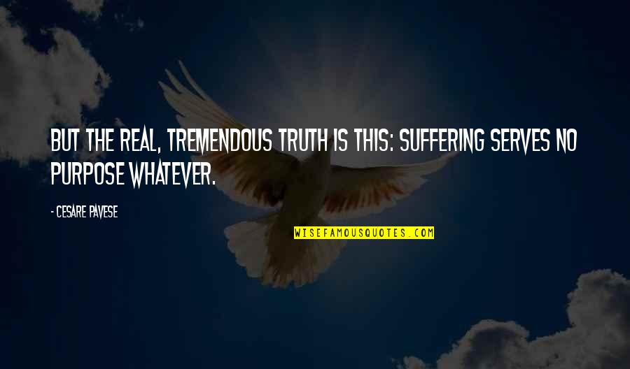 Daniela Gullotta Quotes By Cesare Pavese: But the real, tremendous truth is this: suffering
