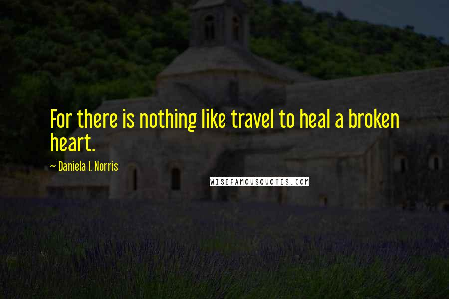 Daniela I. Norris quotes: For there is nothing like travel to heal a broken heart.