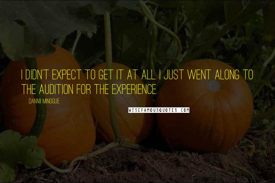 Dannii Minogue quotes: I didn't expect to get it at all. I just went along to the audition for the experience.
