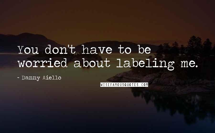Danny Aiello quotes: You don't have to be worried about labeling me.