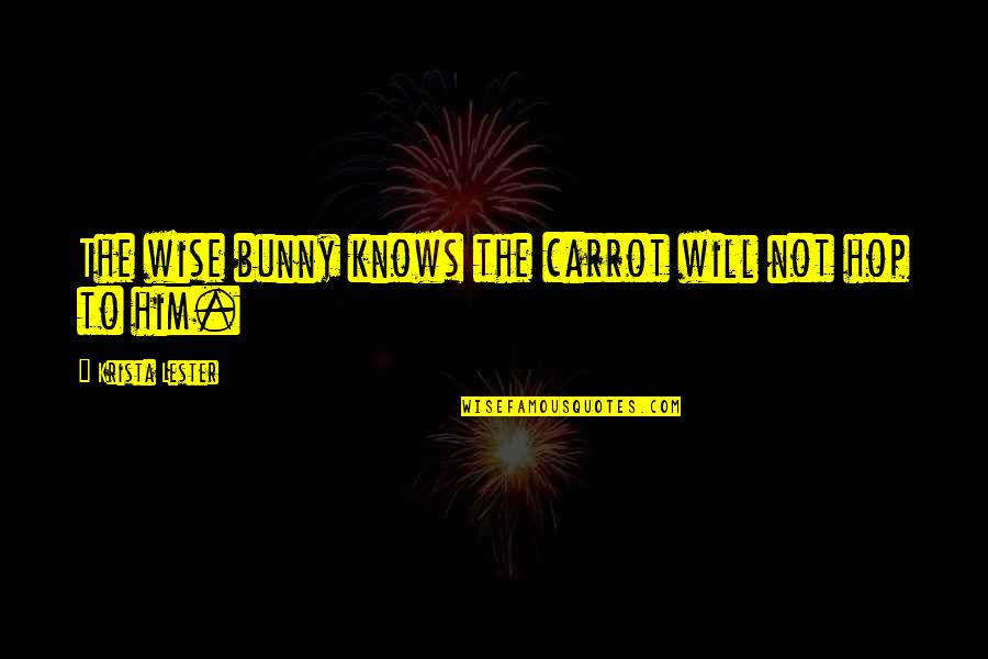 Danza's Quotes By Krista Lester: The wise bunny knows the carrot will not