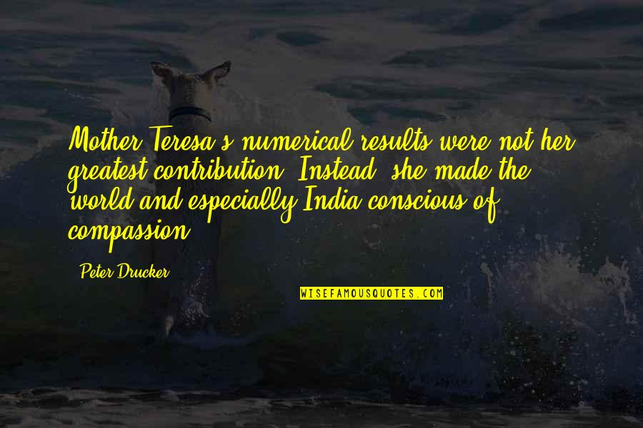 Danza's Quotes By Peter Drucker: Mother Teresa's numerical results were not her greatest