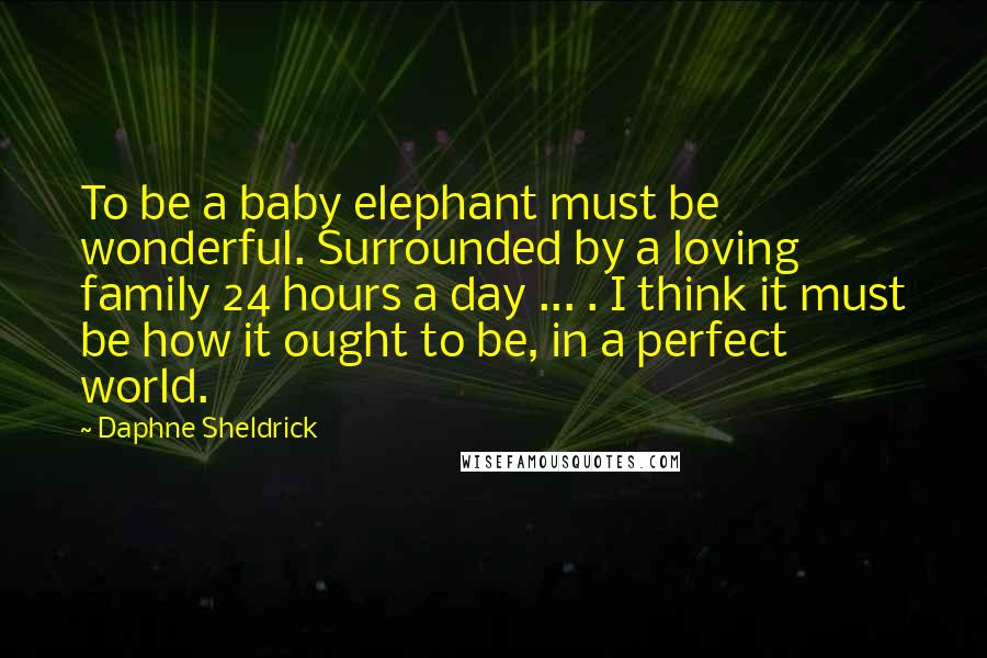 Daphne Sheldrick quotes: To be a baby elephant must be wonderful. Surrounded by a loving family 24 hours a day ... . I think it must be how it ought to be, in