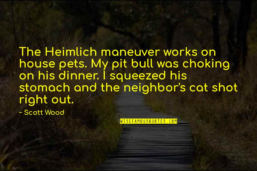Daragon Couple Quotes By Scott Wood: The Heimlich maneuver works on house pets. My