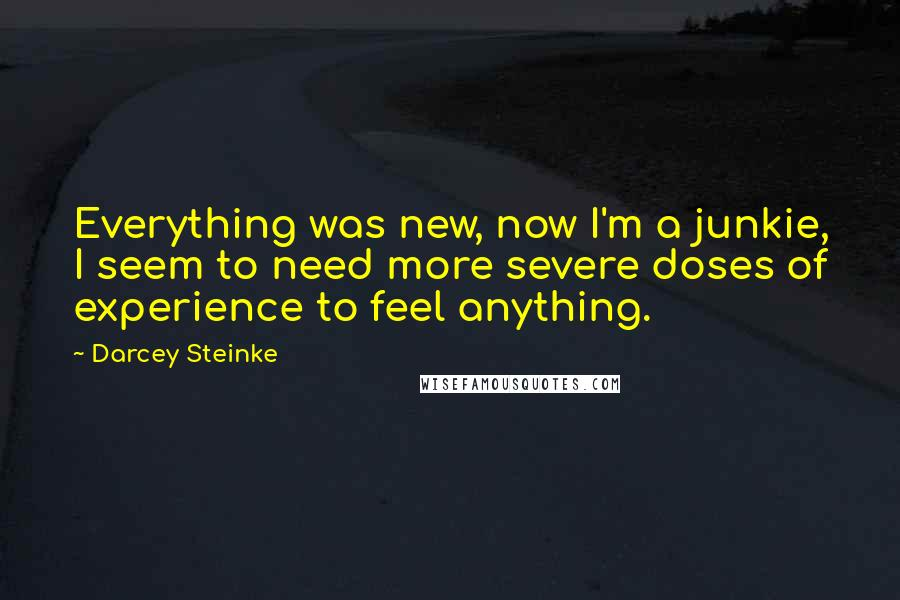Darcey Steinke quotes: Everything was new, now I'm a junkie, I seem to need more severe doses of experience to feel anything.
