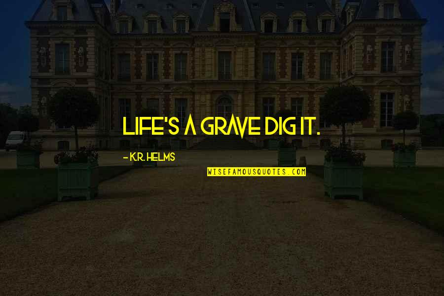 Dark Humor Quotes By K.R. Helms: Life's a grave dig it.