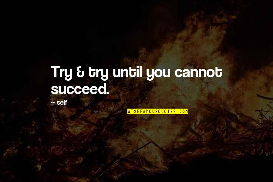 Dark Humor Quotes By Self: Try & try until you cannot succeed.