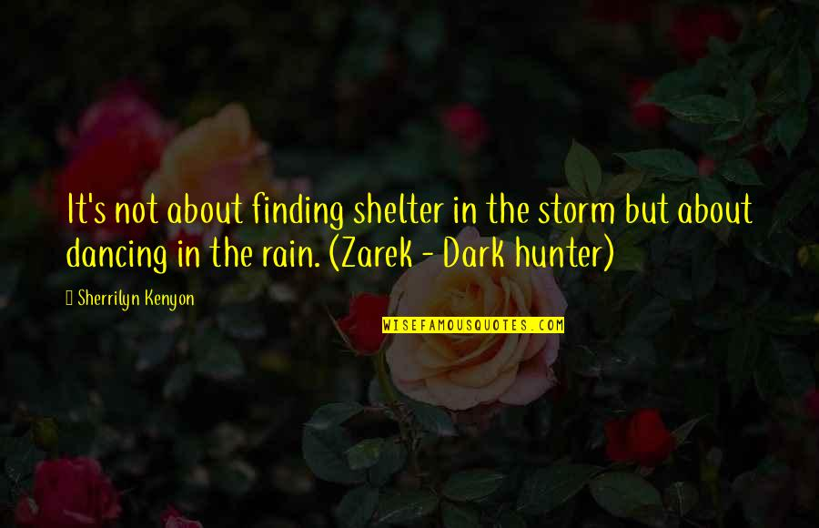 Dark Hunter Quotes By Sherrilyn Kenyon: It's not about finding shelter in the storm