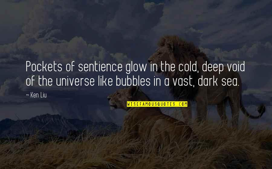 Dark Void Quotes By Ken Liu: Pockets of sentience glow in the cold, deep
