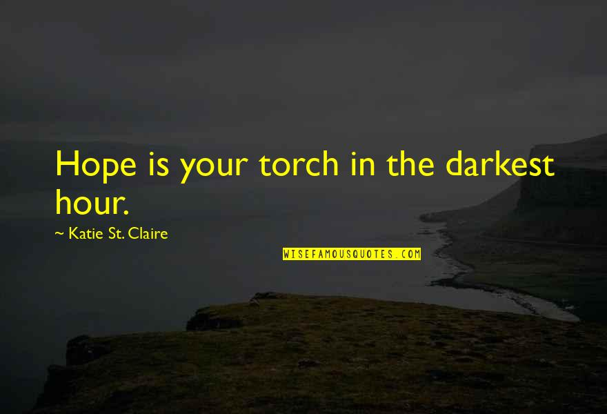 Darkest Before The Dawn Quotes By Katie St. Claire: Hope is your torch in the darkest hour.