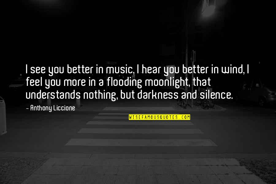Darkness And Silence Quotes By Anthony Liccione: I see you better in music, I hear
