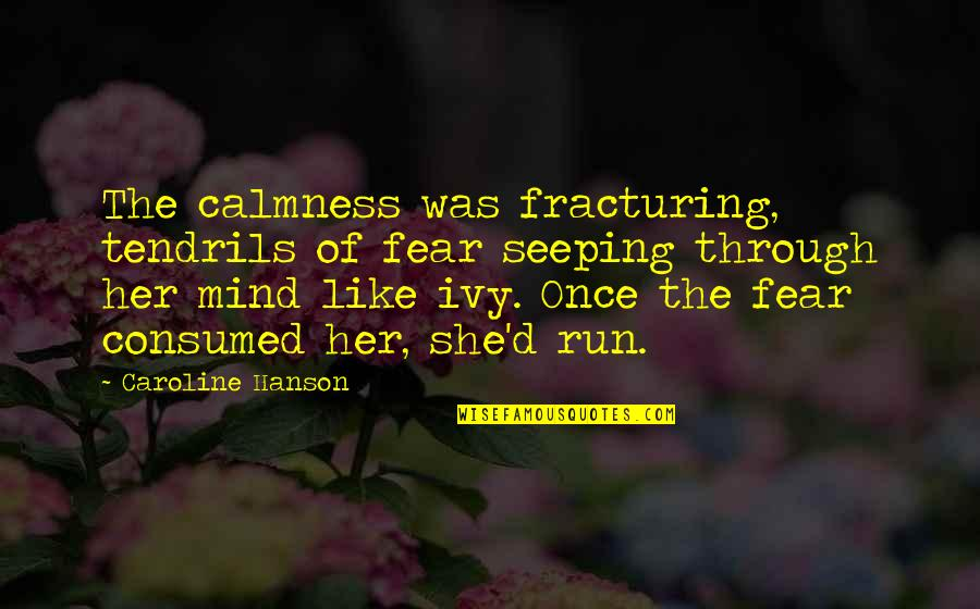 Darkness And Silence Quotes By Caroline Hanson: The calmness was fracturing, tendrils of fear seeping