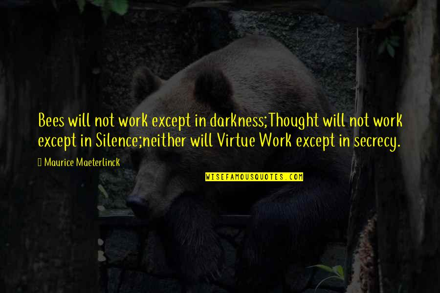Darkness And Silence Quotes By Maurice Maeterlinck: Bees will not work except in darkness;Thought will