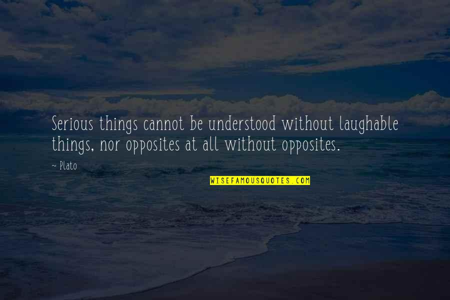 Darlington Quotes By Plato: Serious things cannot be understood without laughable things,