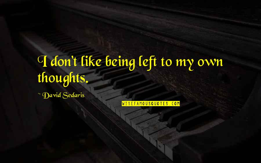 Darmani Quotes By David Sedaris: I don't like being left to my own