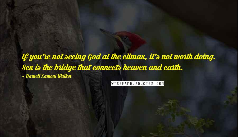Darnell Lamont Walker quotes: If you're not seeing God at the climax, it's not worth doing. Sex is the bridge that connects heaven and earth.
