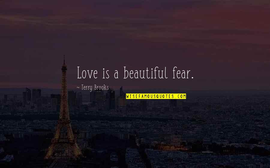 Darning Quotes By Terry Brooks: Love is a beautiful fear.