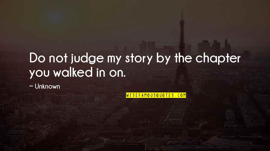 Darning Quotes By Unknown: Do not judge my story by the chapter