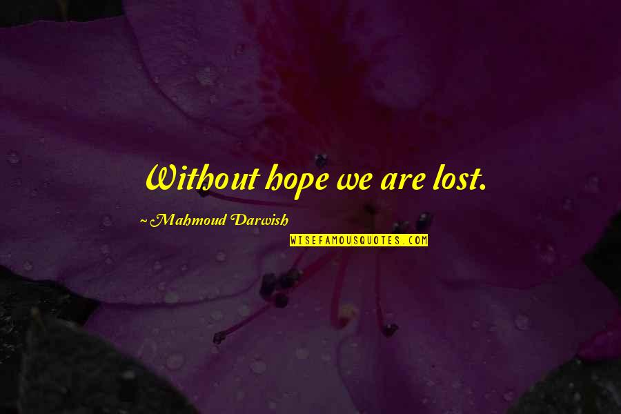 Darwish Quotes By Mahmoud Darwish: Without hope we are lost.