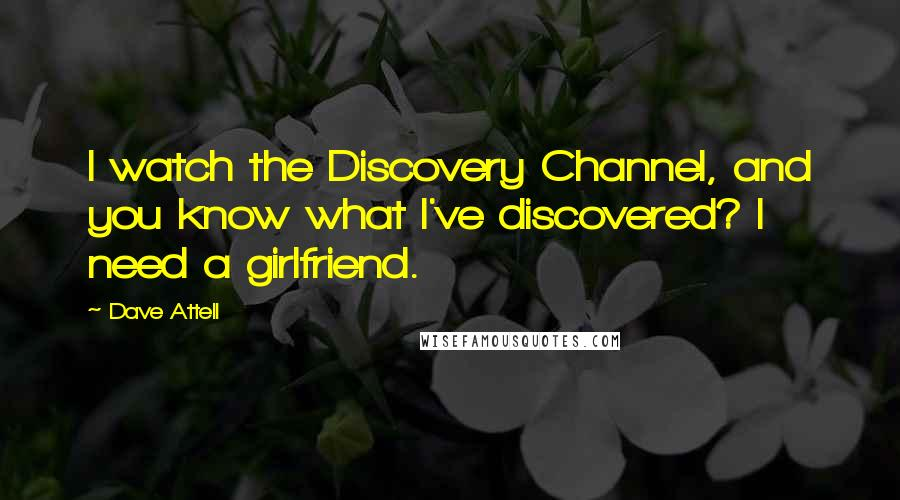 Dave Attell quotes: I watch the Discovery Channel, and you know what I've discovered? I need a girlfriend.