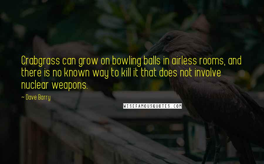 Dave Barry quotes: Crabgrass can grow on bowling balls in airless rooms, and there is no known way to kill it that does not involve nuclear weapons.