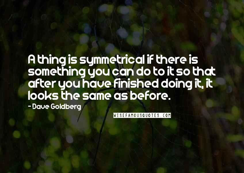 Dave Goldberg quotes: A thing is symmetrical if there is something you can do to it so that after you have finished doing it, it looks the same as before.