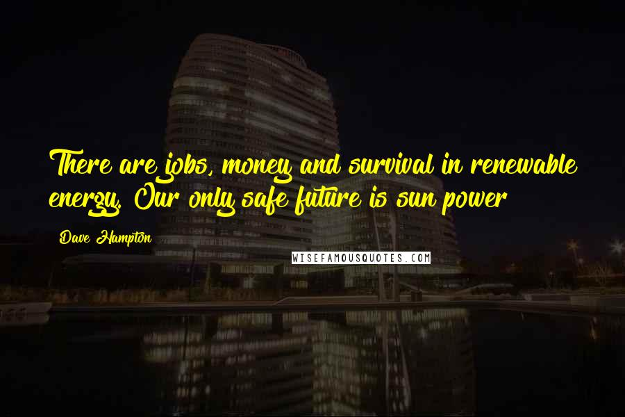 Dave Hampton quotes: There are jobs, money and survival in renewable energy. Our only safe future is sun power
