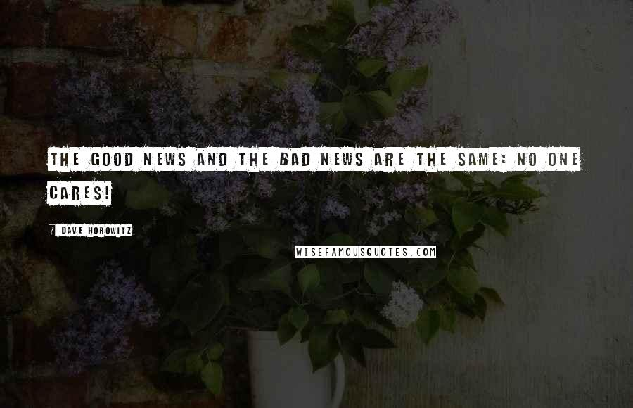 Dave Horowitz quotes: The good news and the bad news are the same: No one cares!