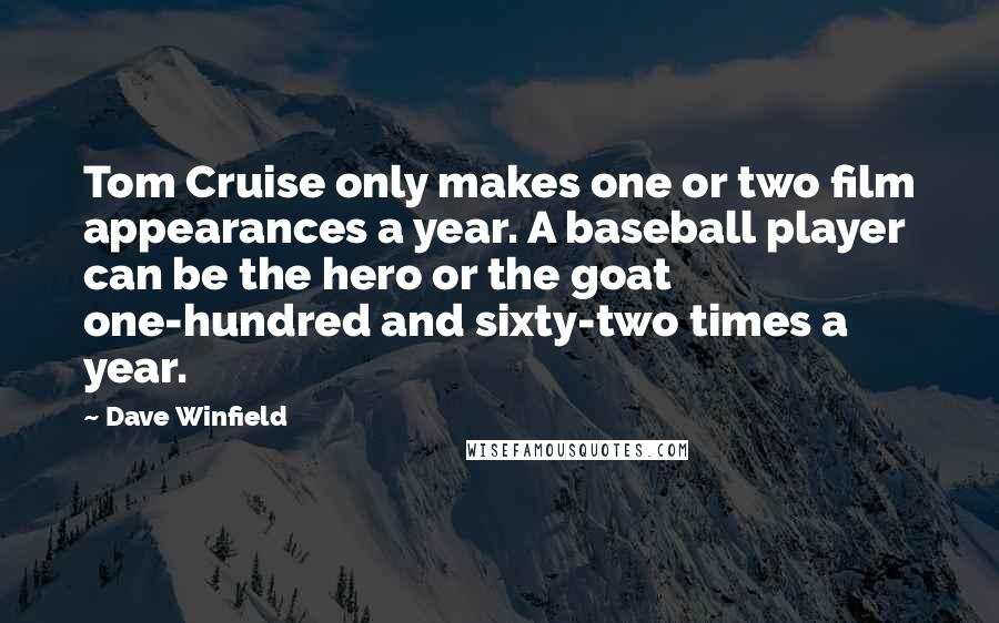 Dave Winfield quotes: Tom Cruise only makes one or two film appearances a year. A baseball player can be the hero or the goat one-hundred and sixty-two times a year.