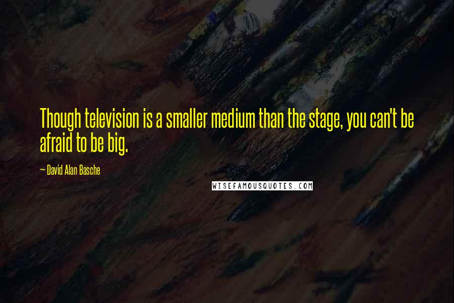 David Alan Basche quotes: Though television is a smaller medium than the stage, you can't be afraid to be big.