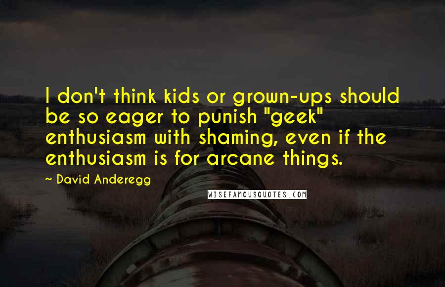 "David Anderegg quotes: I don't think kids or grown-ups should be so eager to punish ""geek"" enthusiasm with shaming, even if the enthusiasm is for arcane things."