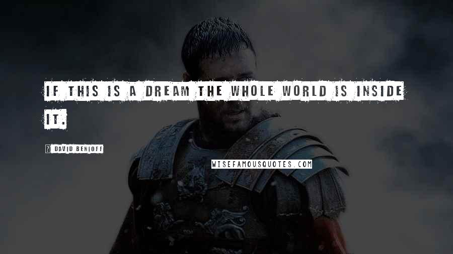 David Benioff quotes: If this is a dream the whole world is inside it.