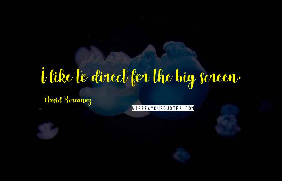 David Boreanaz quotes: I like to direct for the big screen.