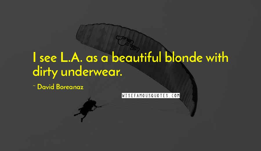David Boreanaz quotes: I see L.A. as a beautiful blonde with dirty underwear.
