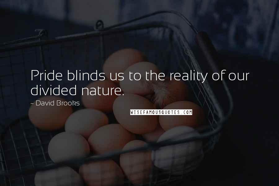 David Brooks quotes: Pride blinds us to the reality of our divided nature.