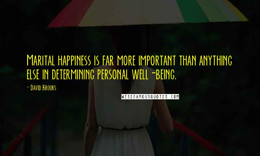 David Brooks quotes: Marital happiness is far more important than anything else in determining personal well-being.