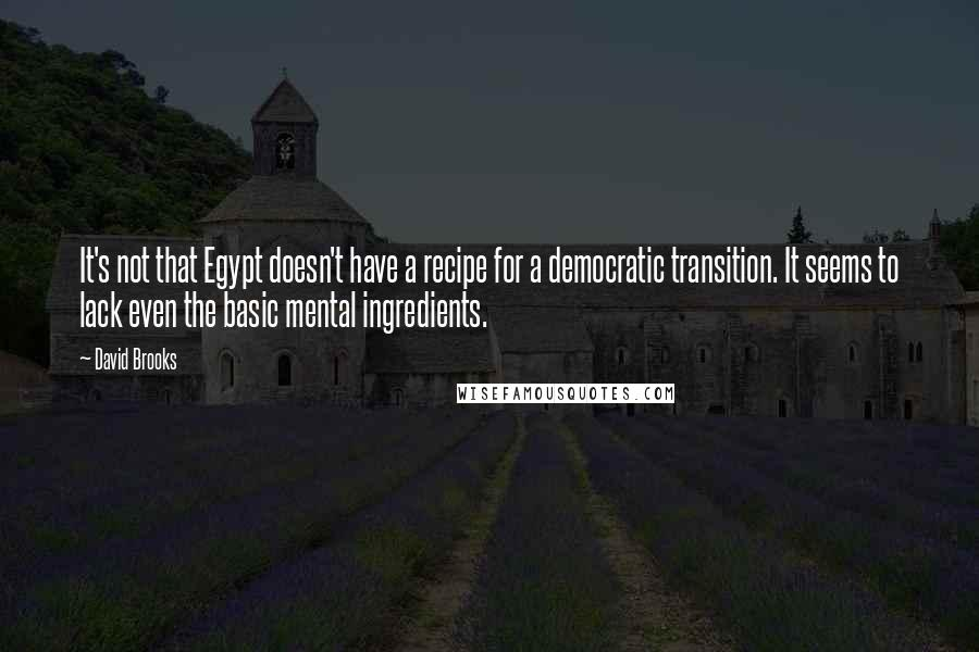 David Brooks quotes: It's not that Egypt doesn't have a recipe for a democratic transition. It seems to lack even the basic mental ingredients.