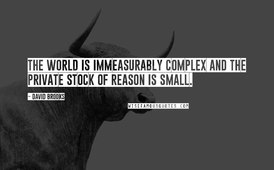 David Brooks quotes: The world is immeasurably complex and the private stock of reason is small.